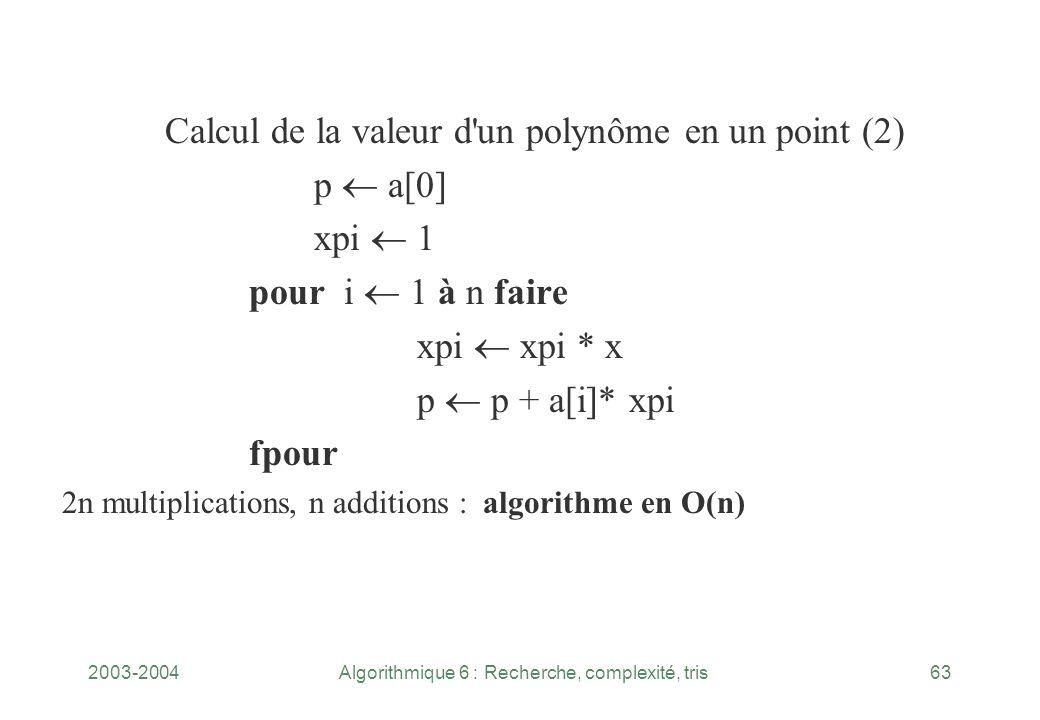 2003-2004Algorithmique 6 : Recherche, complexité, tris63 Calcul de la valeur d'un polynôme en un point (2) p a[0] xpi 1 pour i 1 à n faire xpi xpi * x
