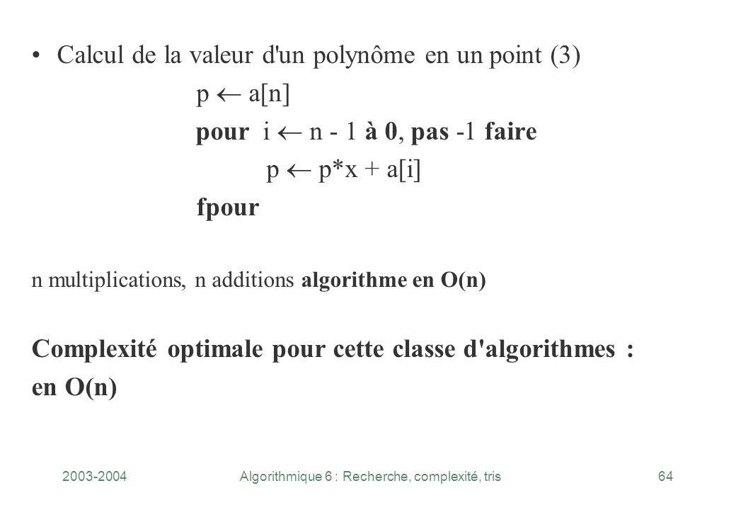 2003-2004Algorithmique 6 : Recherche, complexité, tris64 Calcul de la valeur d'un polynôme en un point (3) p a[n] pour i n - 1 à 0, pas 1 faire p p*x