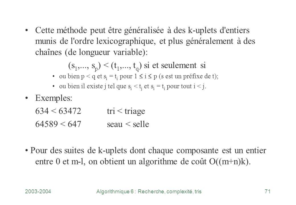 2003-2004Algorithmique 6 : Recherche, complexité, tris71 Cette méthode peut être généralisée à des k uplets d'entiers munis de l'ordre lexicographique