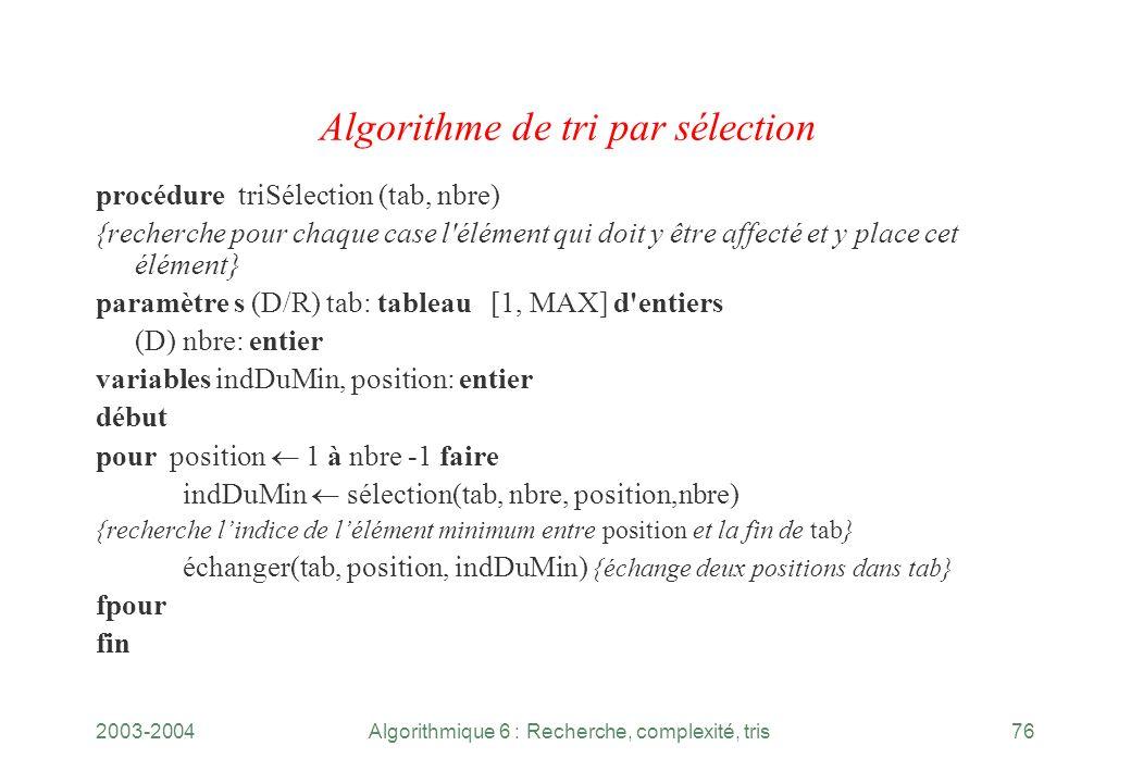 2003-2004Algorithmique 6 : Recherche, complexité, tris76 Algorithme de tri par sélection procédure triSélection (tab, nbre) {recherche pour chaque cas
