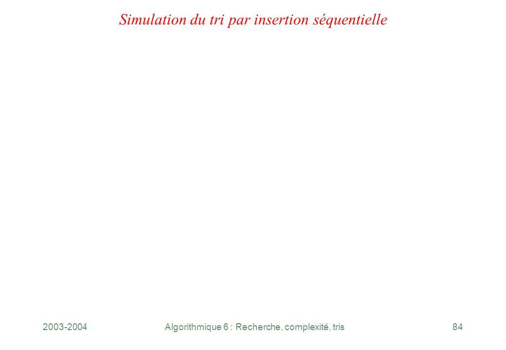 2003-2004Algorithmique 6 : Recherche, complexité, tris84 Simulation du tri par insertion séquentielle