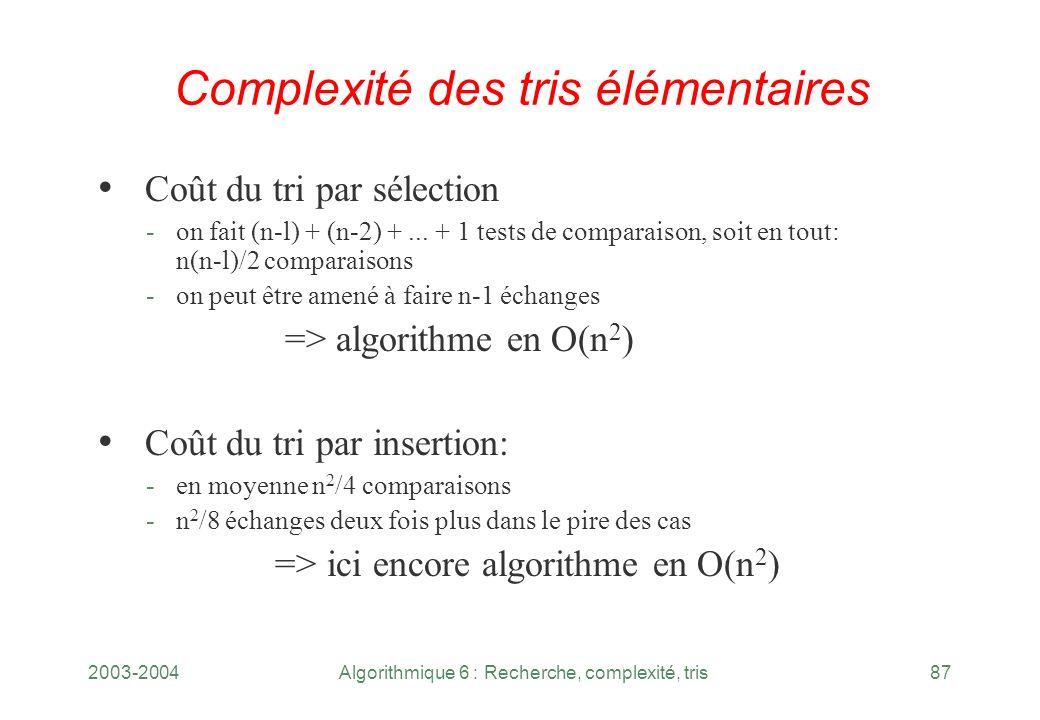 2003-2004Algorithmique 6 : Recherche, complexité, tris87 Complexité des tris élémentaires Coût du tri par sélection -on fait (n l) + (n 2) +... + 1 te