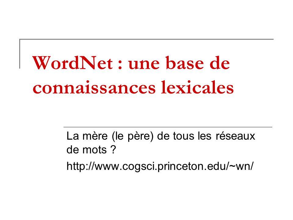 WordNet : une base de connaissances lexicales La mère (le père) de tous les réseaux de mots ? http://www.cogsci.princeton.edu/~wn/