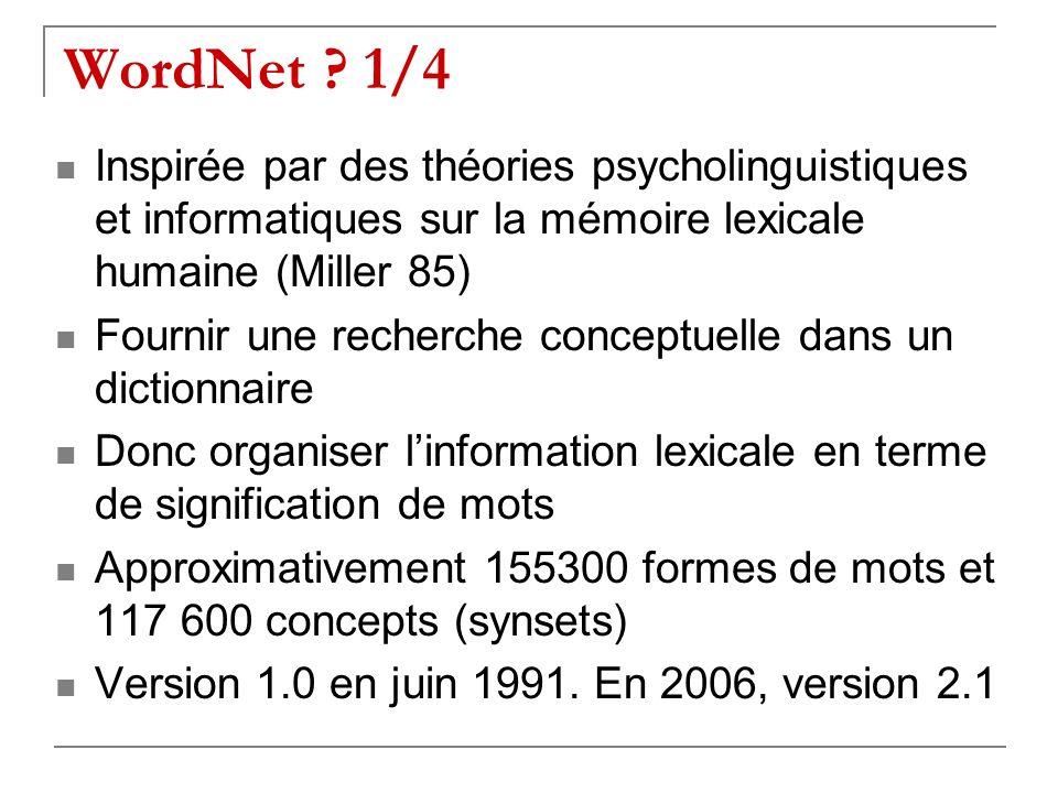 WordNet ? 1/4 Inspirée par des théories psycholinguistiques et informatiques sur la mémoire lexicale humaine (Miller 85) Fournir une recherche concept