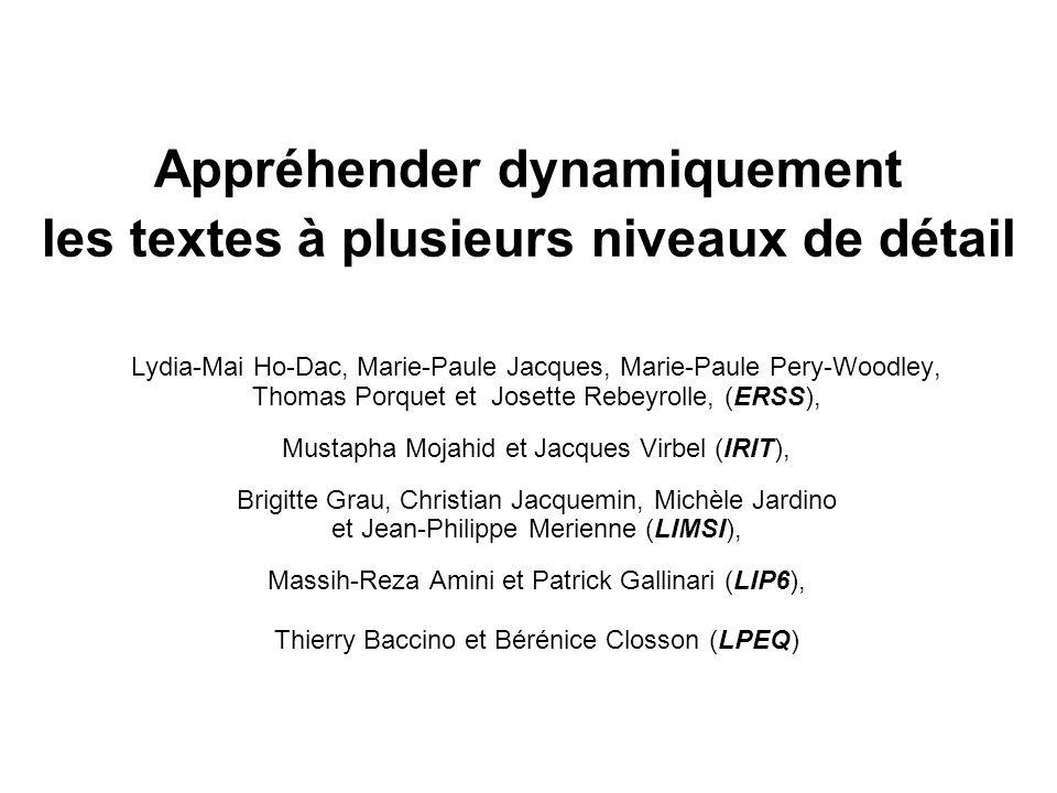 Appréhender dynamiquement les textes à plusieurs niveaux de détail Lydia-Mai Ho-Dac, Marie-Paule Jacques, Marie-Paule Pery-Woodley, Thomas Porquet et