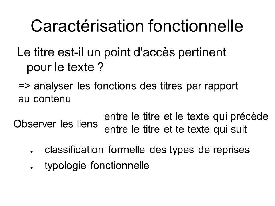 Caractérisation fonctionnelle Le titre est-il un point d'accès pertinent pour le texte ? classification formelle des types de reprises typologie fonct