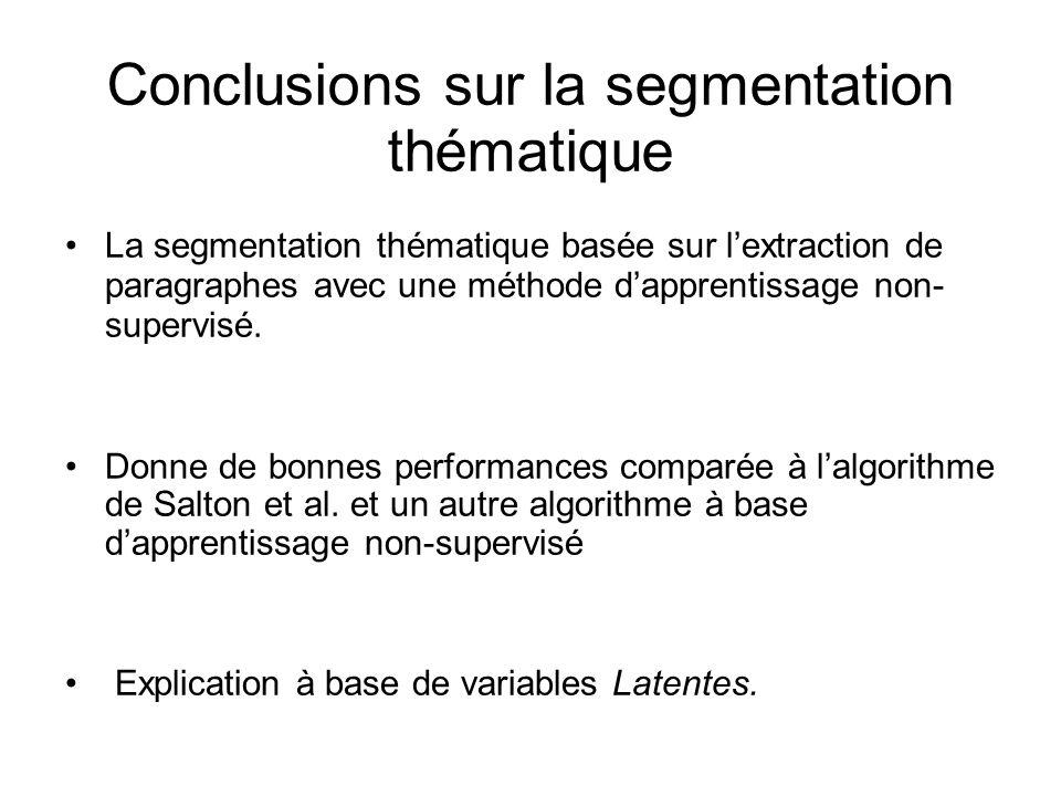 Conclusions sur la segmentation thématique La segmentation thématique basée sur lextraction de paragraphes avec une méthode dapprentissage non- superv