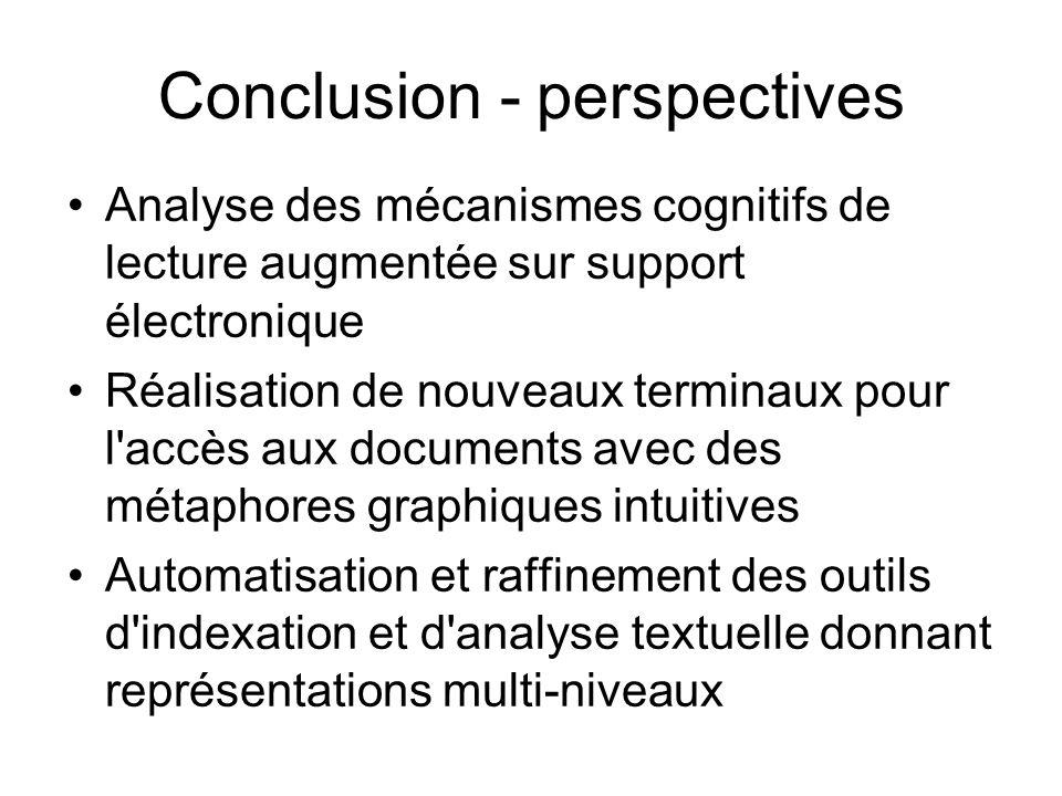 Conclusion - perspectives Analyse des mécanismes cognitifs de lecture augmentée sur support électronique Réalisation de nouveaux terminaux pour l'accè