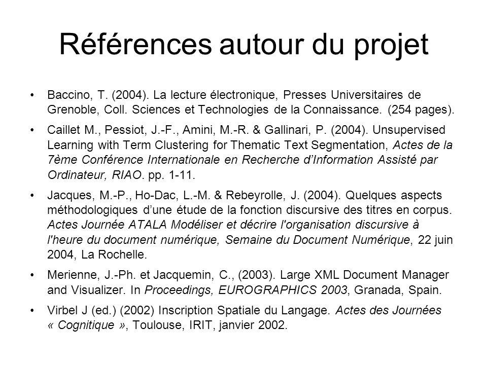 Références autour du projet Baccino, T. (2004). La lecture électronique, Presses Universitaires de Grenoble, Coll. Sciences et Technologies de la Conn