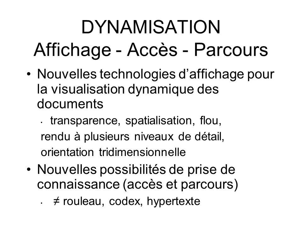 DYNAMISATION Affichage - Accès - Parcours Nouvelles technologies daffichage pour la visualisation dynamique des documents transparence, spatialisation