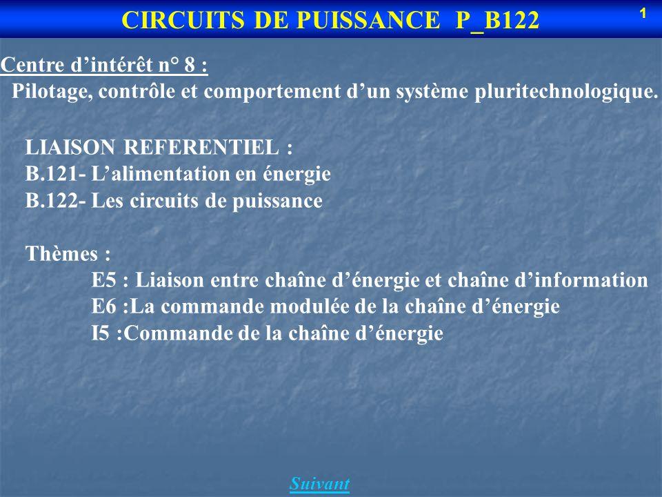 Suivant CIRCUITS DE PUISSANCE P_B122 1 Centre dintérêt n° 8 : Pilotage, contrôle et comportement dun système pluritechnologique.