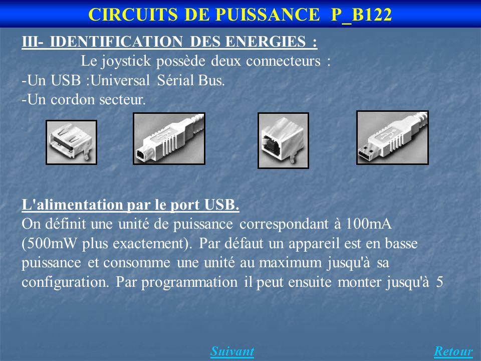 Suivant 3 CIRCUITS DE PUISSANCE P_B122 III- IDENTIFICATION DES ENERGIES : Le joystick possède deux connecteurs : -Un USB :Universal Sérial Bus.