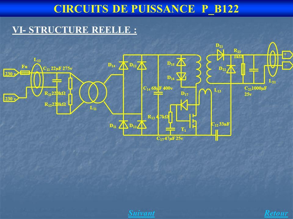 CIRCUITS DE PUISSANCE P_B122 RetourSuivant VI- STRUCTURE REELLE :