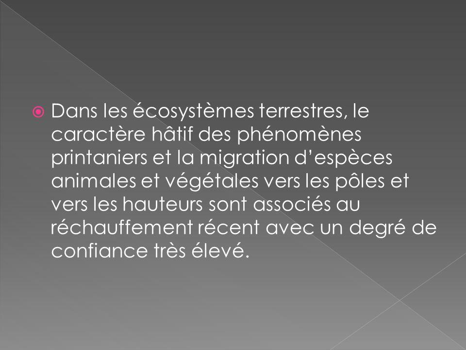 Dans les écosystèmes terrestres, le caractère hâtif des phénomènes printaniers et la migration despèces animales et végétales vers les pôles et vers les hauteurs sont associés au réchauffement récent avec un degré de confiance très élevé.