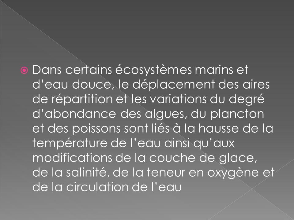 Dans certains écosystèmes marins et deau douce, le déplacement des aires de répartition et les variations du degré dabondance des algues, du plancton et des poissons sont liés à la hausse de la température de leau ainsi quaux modifications de la couche de glace, de la salinité, de la teneur en oxygène et de la circulation de leau