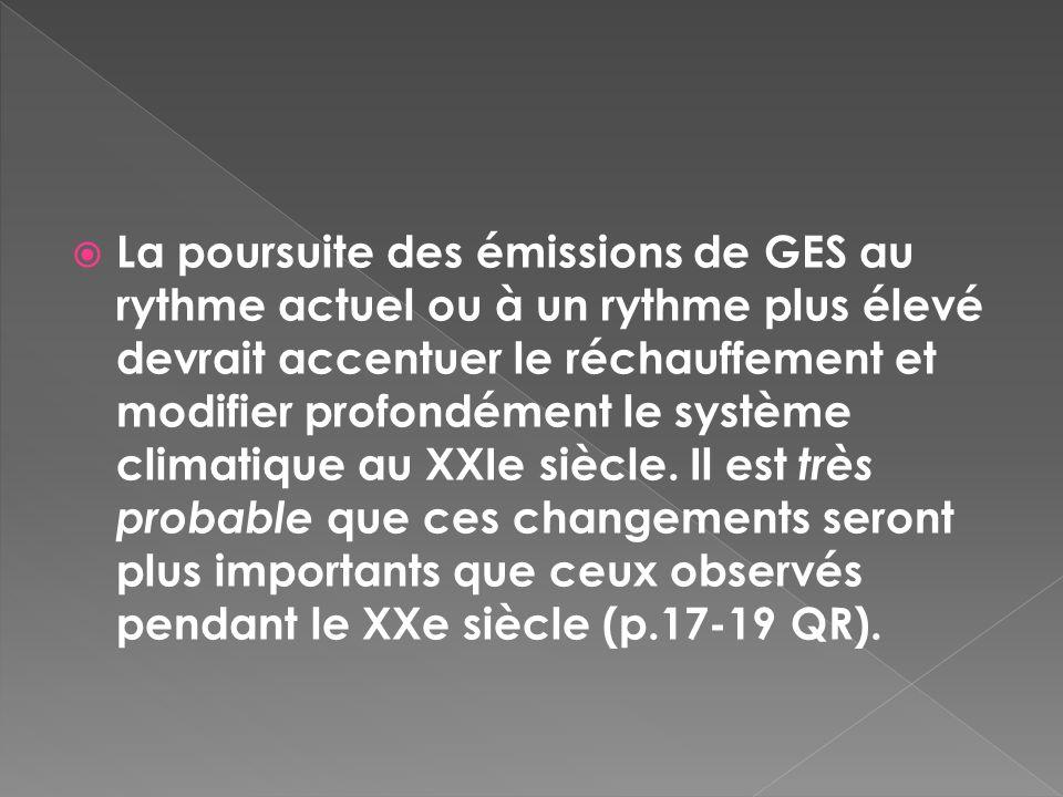 La poursuite des émissions de GES au rythme actuel ou à un rythme plus élevé devrait accentuer le réchauffement et modifier profondément le système climatique au XXIe siècle.