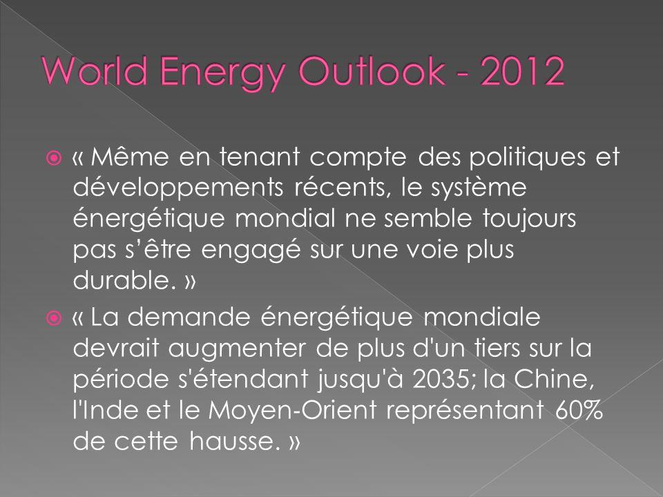 « Même en tenant compte des politiques et développements récents, le système énergétique mondial ne semble toujours pas sêtre engagé sur une voie plus