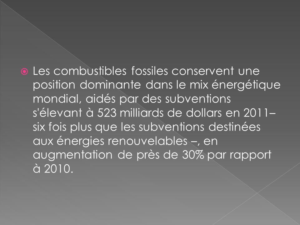 Les combustibles fossiles conservent une position dominante dans le mix énergétique mondial, aidés par des subventions s élevant à 523 milliards de dollars en 2011– six fois plus que les subventions destinées aux énergies renouvelables –, en augmentation de près de 30% par rapport à 2010.