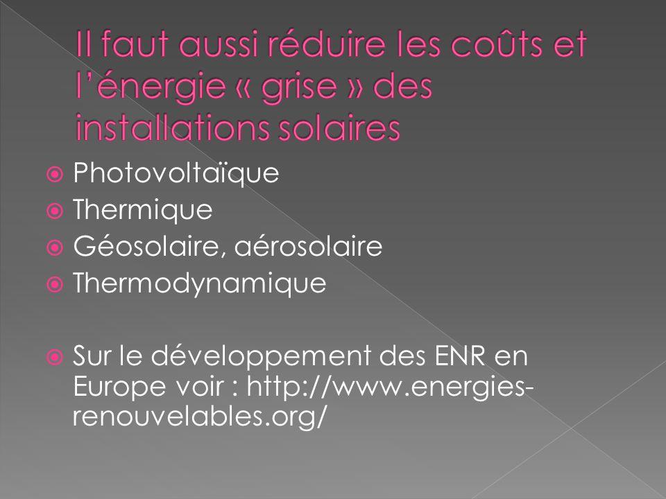Photovoltaïque Thermique Géosolaire, aérosolaire Thermodynamique Sur le développement des ENR en Europe voir : http://www.energies- renouvelables.org/