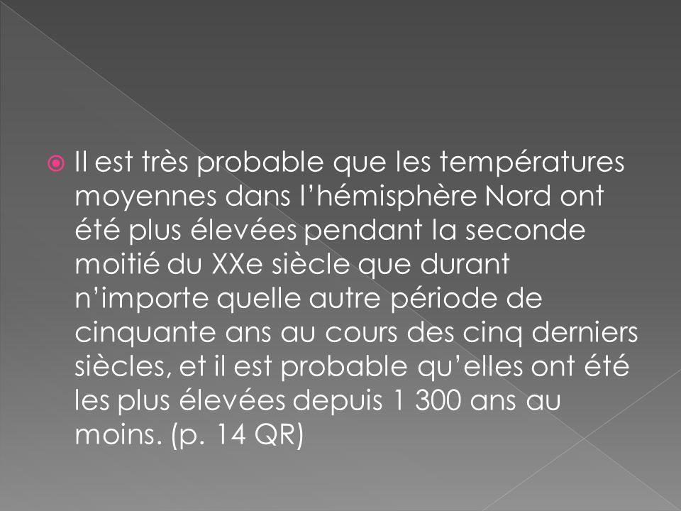 Il est très probable que les températures moyennes dans lhémisphère Nord ont été plus élevées pendant la seconde moitié du XXe siècle que durant nimporte quelle autre période de cinquante ans au cours des cinq derniers siècles, et il est probable quelles ont été les plus élevées depuis 1 300 ans au moins.