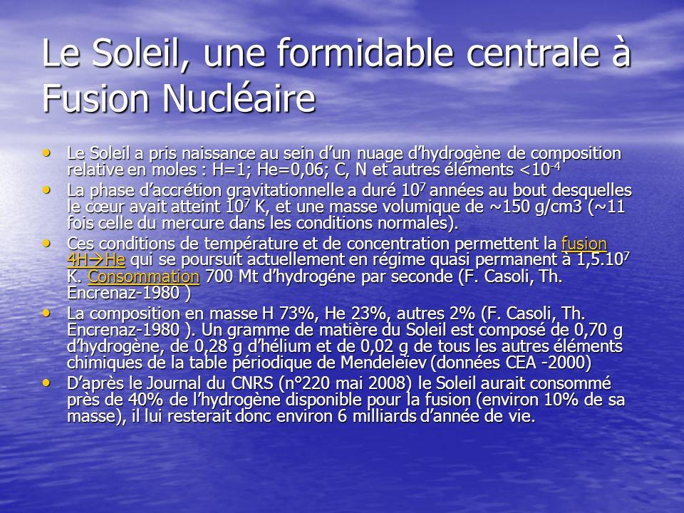 Le Soleil, une formidable centrale à Fusion Nucléaire Le Soleil a pris naissance au sein dun nuage dhydrogène de composition relative en moles : H=1;