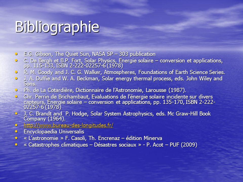 Bibliographie E.G. Gibson, The Quiet Sun, NASA SP – 303 publication E.G. Gibson, The Quiet Sun, NASA SP – 303 publication C. De Bergh et B.P. Fort, So