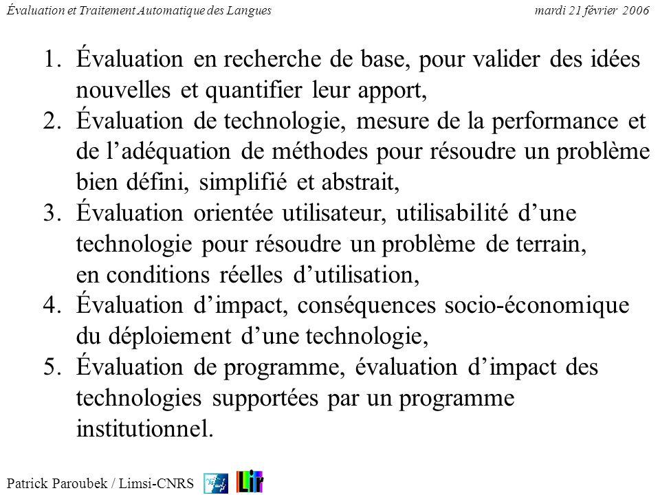 Patrick Paroubek / Limsi-CNRS Évaluation et Traitement Automatique des Languesmardi 21 février 2006 1.Évaluation en recherche de base, pour valider de