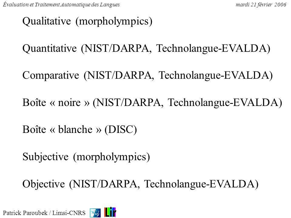 Patrick Paroubek / Limsi-CNRS Évaluation et Traitement Automatique des Languesmardi 21 février 2006 Qualitative (morpholympics) Quantitative (NIST/DAR