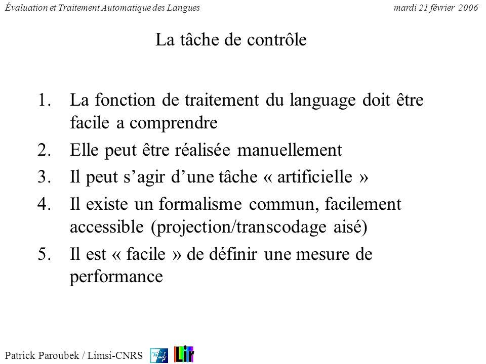 Patrick Paroubek / Limsi-CNRS Évaluation et Traitement Automatique des Languesmardi 21 février 2006 La tâche de contrôle 1.La fonction de traitement d