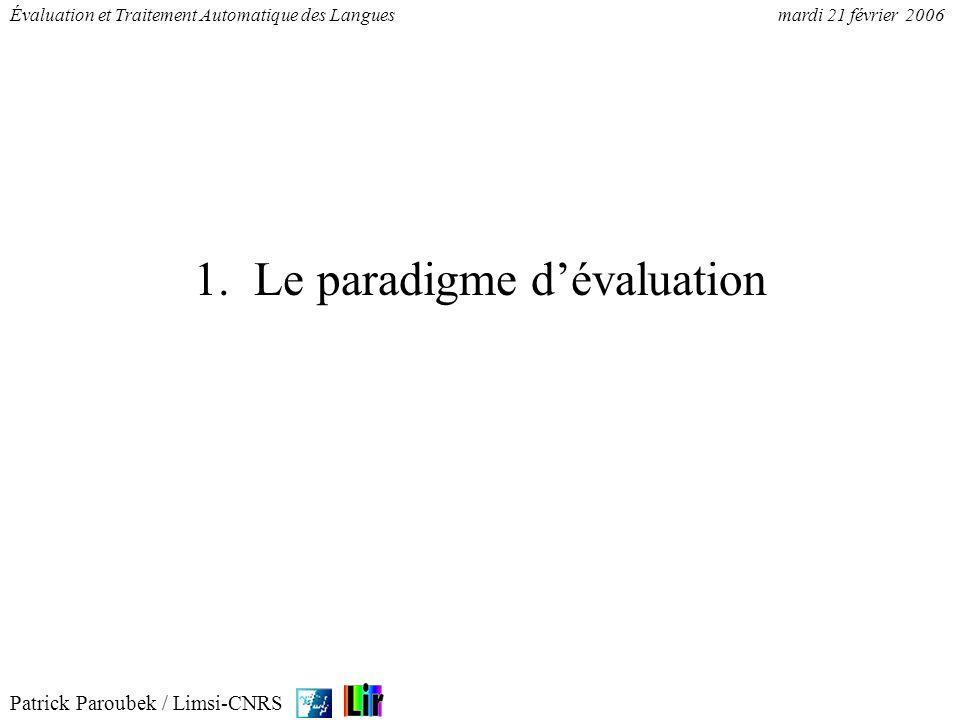Patrick Paroubek / Limsi-CNRS Évaluation et Traitement Automatique des Languesmardi 21 février 2006 1. Le paradigme dévaluation