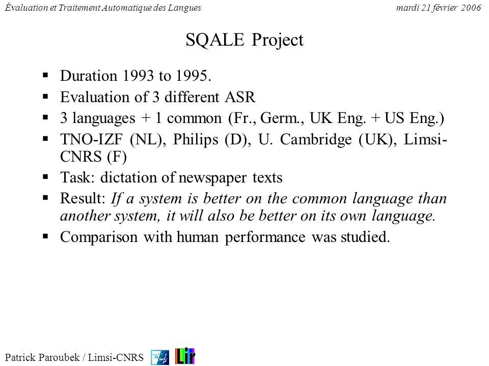 Patrick Paroubek / Limsi-CNRS Évaluation et Traitement Automatique des Languesmardi 21 février 2006 SQALE Project Duration 1993 to 1995. Evaluation of
