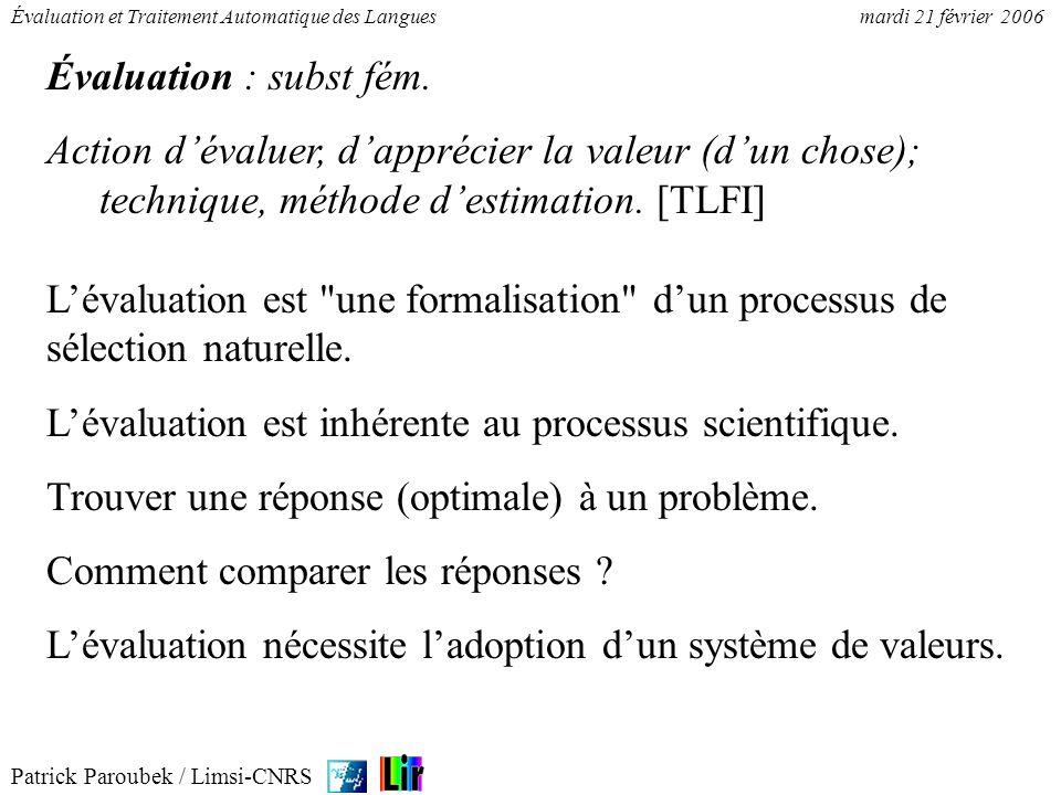 Patrick Paroubek / Limsi-CNRS Évaluation et Traitement Automatique des Languesmardi 21 février 2006 Évaluation : subst fém. Action dévaluer, dapprécie