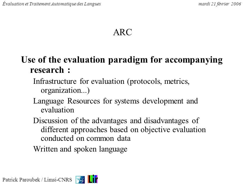 Patrick Paroubek / Limsi-CNRS Évaluation et Traitement Automatique des Languesmardi 21 février 2006 ARC Use of the evaluation paradigm for accompanyin