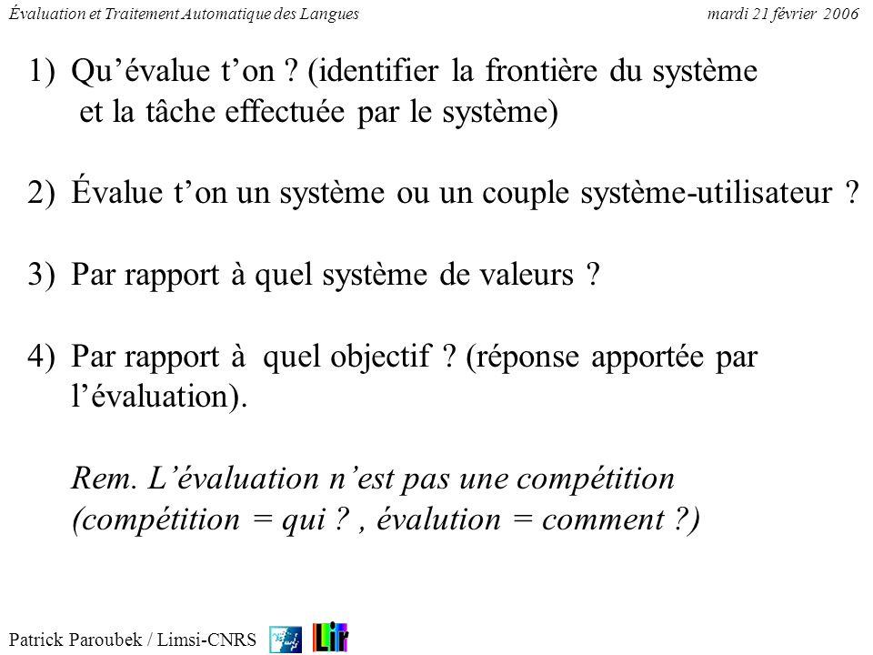 Patrick Paroubek / Limsi-CNRS Évaluation et Traitement Automatique des Languesmardi 21 février 2006 1)Quévalue ton ? (identifier la frontière du systè