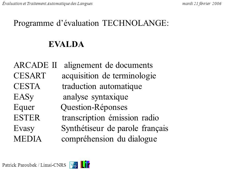 Patrick Paroubek / Limsi-CNRS Évaluation et Traitement Automatique des Languesmardi 21 février 2006 Programme dévaluation TECHNOLANGE: EVALDA ARCADE I