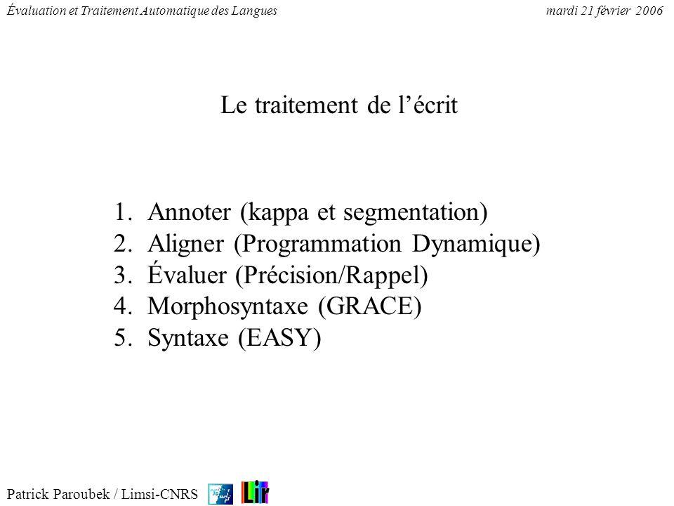 Patrick Paroubek / Limsi-CNRS Évaluation et Traitement Automatique des Languesmardi 21 février 2006 Le traitement de lécrit 1.Annoter (kappa et segmen