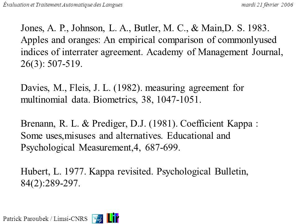 Patrick Paroubek / Limsi-CNRS Évaluation et Traitement Automatique des Languesmardi 21 février 2006 Jones, A. P., Johnson, L. A., Butler, M. C., & Mai