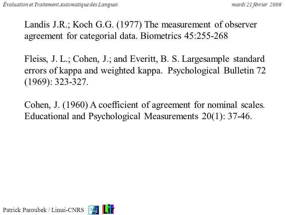Patrick Paroubek / Limsi-CNRS Évaluation et Traitement Automatique des Languesmardi 21 février 2006 Landis J.R.; Koch G.G. (1977) The measurement of o