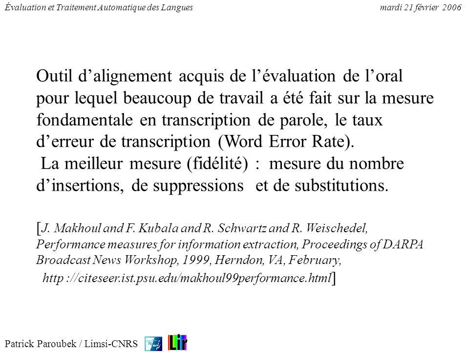 Patrick Paroubek / Limsi-CNRS Évaluation et Traitement Automatique des Languesmardi 21 février 2006 Outil dalignement acquis de lévaluation de loral p