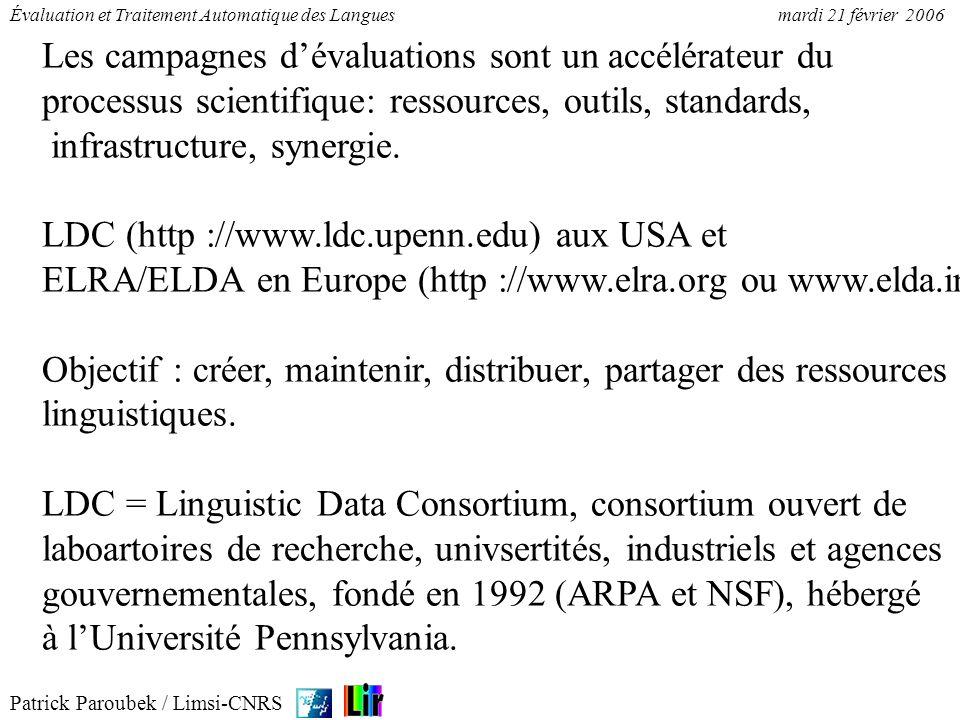 Patrick Paroubek / Limsi-CNRS Évaluation et Traitement Automatique des Languesmardi 21 février 2006 Les campagnes dévaluations sont un accélérateur du