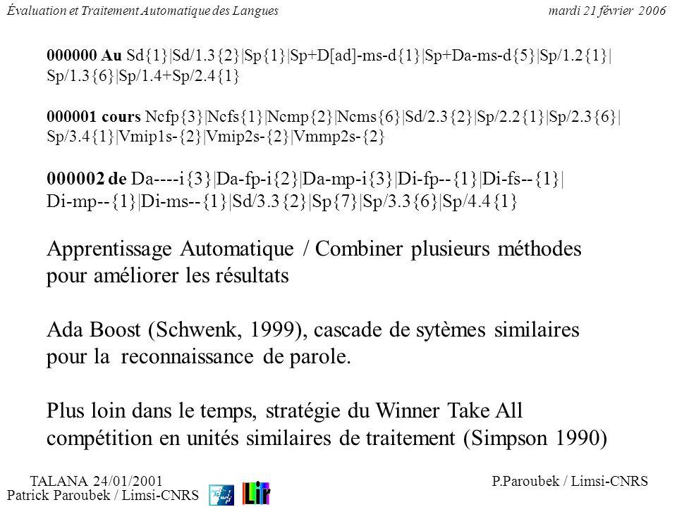 Patrick Paroubek / Limsi-CNRS Évaluation et Traitement Automatique des Languesmardi 21 février 2006 000000 Au Sd{1}|Sd/1.3{2}|Sp{1}|Sp+D[ad]-ms-d{1}|S