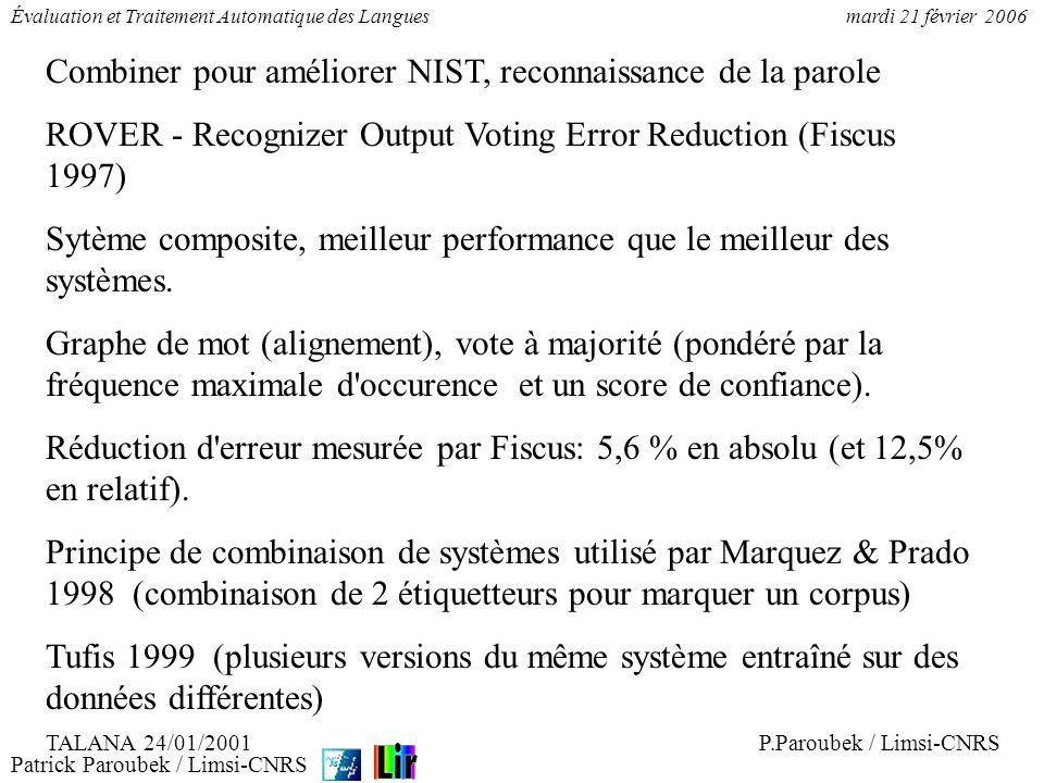 Patrick Paroubek / Limsi-CNRS Évaluation et Traitement Automatique des Languesmardi 21 février 2006 Combiner pour améliorer NIST, reconnaissance de la