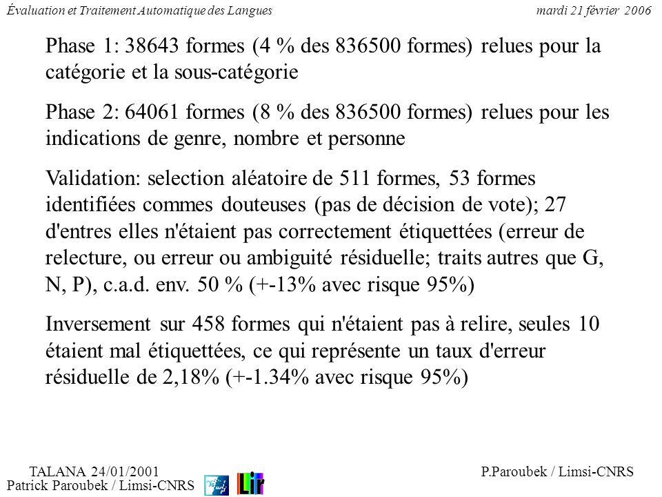 Patrick Paroubek / Limsi-CNRS Évaluation et Traitement Automatique des Languesmardi 21 février 2006 Phase 1: 38643 formes (4 % des 836500 formes) relu