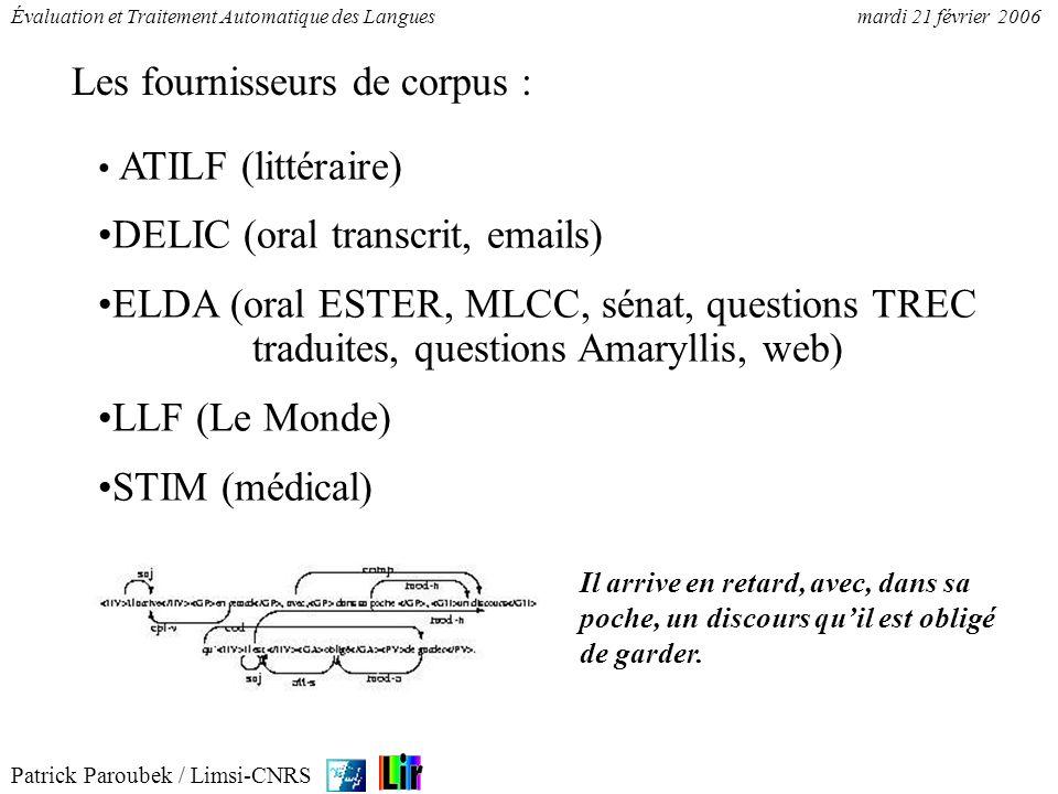 Patrick Paroubek / Limsi-CNRS Évaluation et Traitement Automatique des Languesmardi 21 février 2006 ATILF (littéraire) DELIC (oral transcrit, emails)