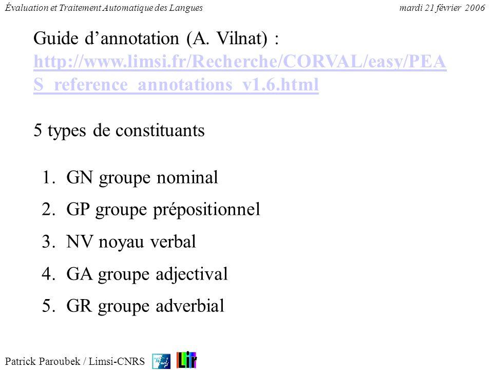 Patrick Paroubek / Limsi-CNRS Évaluation et Traitement Automatique des Languesmardi 21 février 2006 1.GN groupe nominal 2.GP groupe prépositionnel 3.N