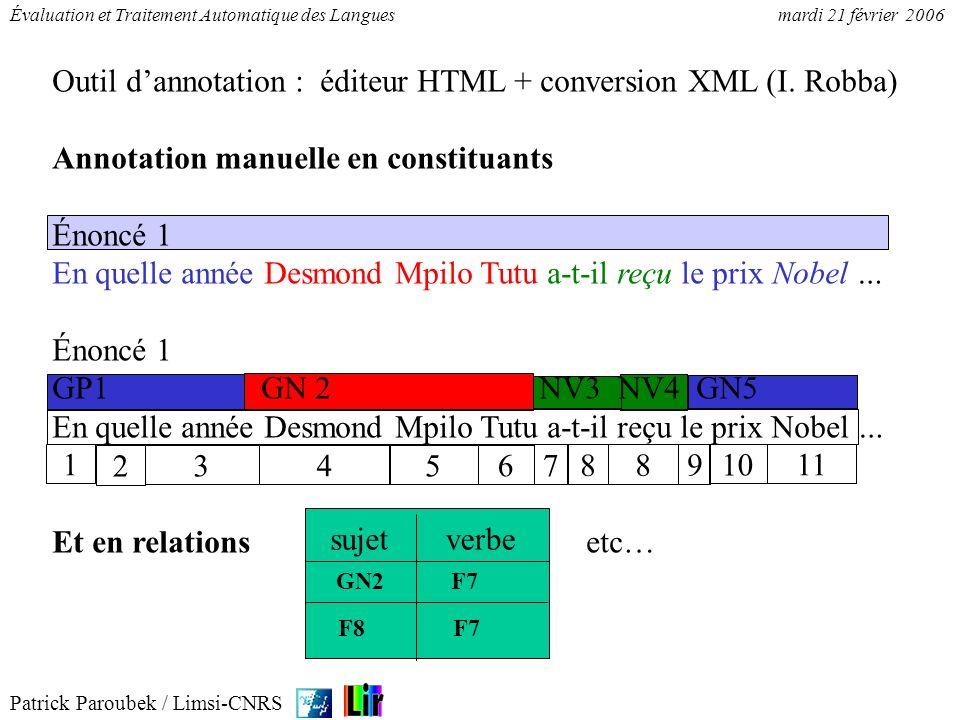 Patrick Paroubek / Limsi-CNRS Évaluation et Traitement Automatique des Languesmardi 21 février 2006 Outil dannotation : éditeur HTML + conversion XML