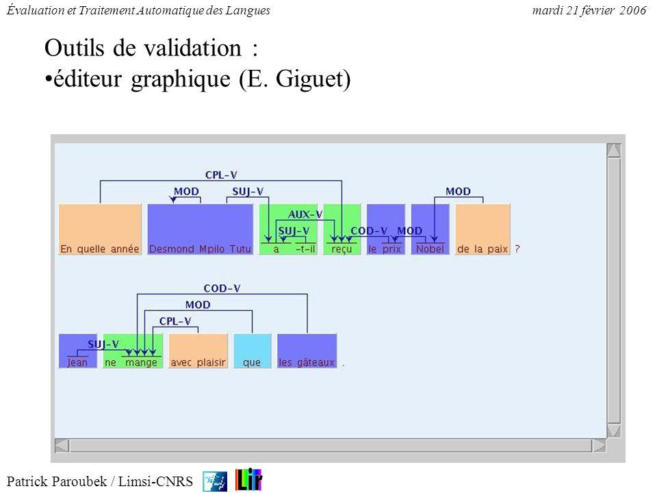 Patrick Paroubek / Limsi-CNRS Évaluation et Traitement Automatique des Languesmardi 21 février 2006 Outils de validation : éditeur graphique (E. Gigue