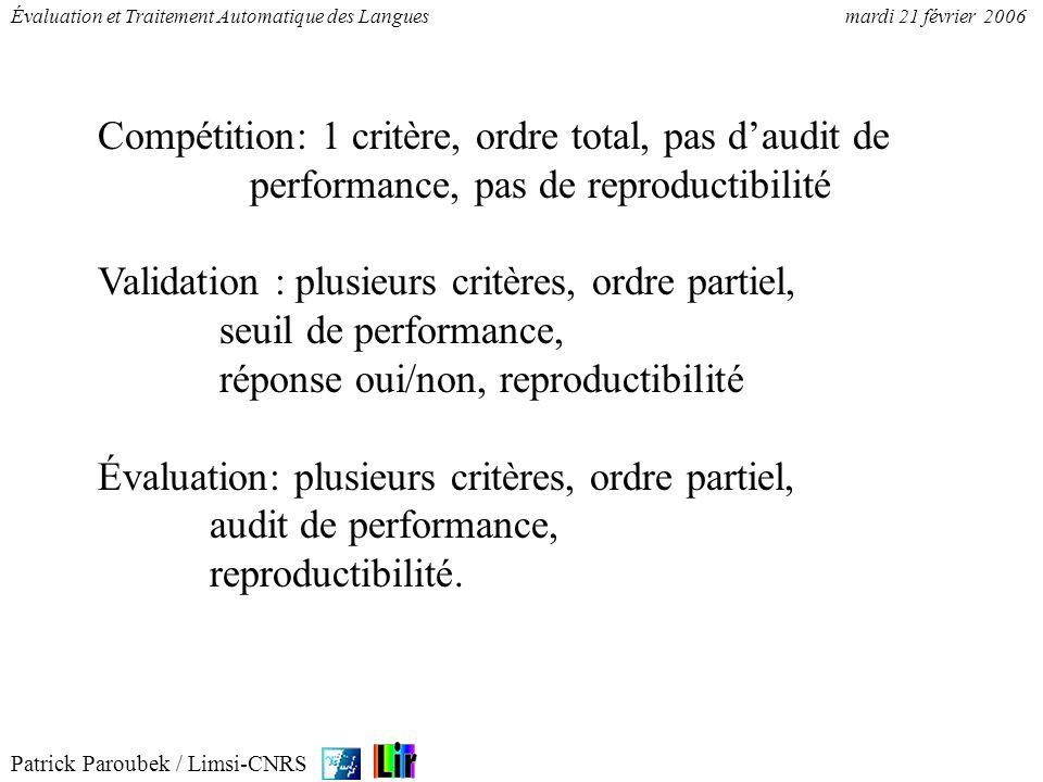 Patrick Paroubek / Limsi-CNRS Évaluation et Traitement Automatique des Languesmardi 21 février 2006 Compétition: 1 critère, ordre total, pas daudit de