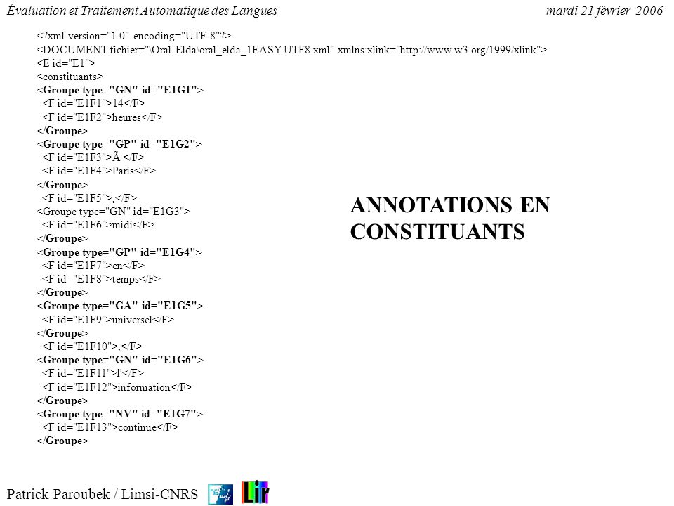 Patrick Paroubek / Limsi-CNRS Évaluation et Traitement Automatique des Languesmardi 21 février 2006 14 heures à Paris, midi en temps universel, l' inf