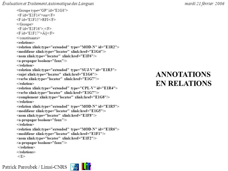 Patrick Paroubek / Limsi-CNRS Évaluation et Traitement Automatique des Languesmardi 21 février 2006 sur RFI. § ANNOTATIONS EN RELATIONS
